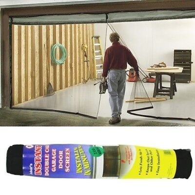 DOUBLE GARAGE DOOR Screen Magnetic Closure Mosquito Net Insects Bugs on windows mosquito net, garage door bug net, screen door mosquito net,