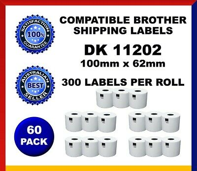 60 Refill Rolls DK11202 Brother Compatible Shipping Labels 62x100mm Label