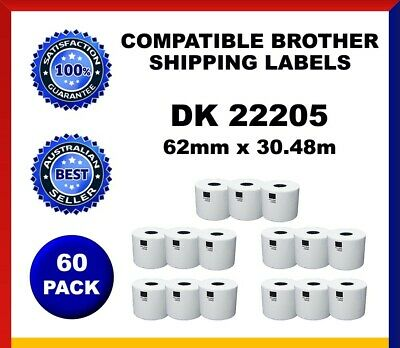 60 Refill Rolls DK22205 Brother Compatible Shipping Labels 62mm x30.48m Label