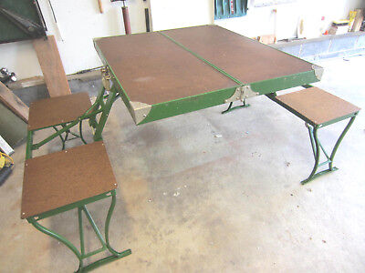 Vtg Mid Century Handy Folding Picnic Table Chairs Set Camping Metal Green
