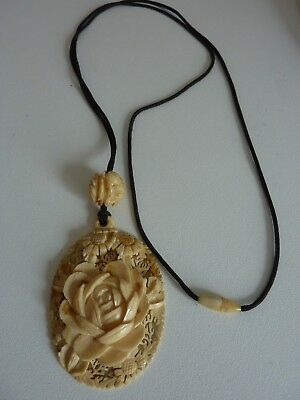 Antique Chinese Carved Bovine Bone High Relief Large Rose Pendant Necklace