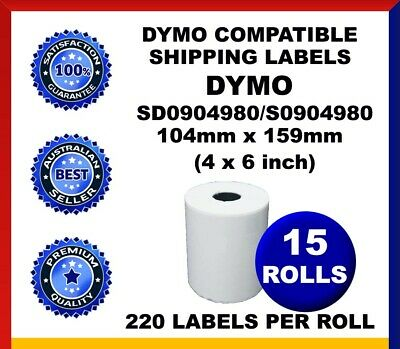 15 Rolls SD0904980 Compatible Dymo 4XL Label Shipping Labels 104mm x 159mm