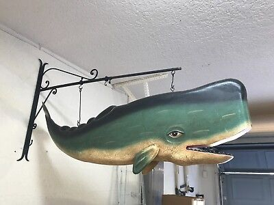 whimsical hanging whale with brackets - friendly character