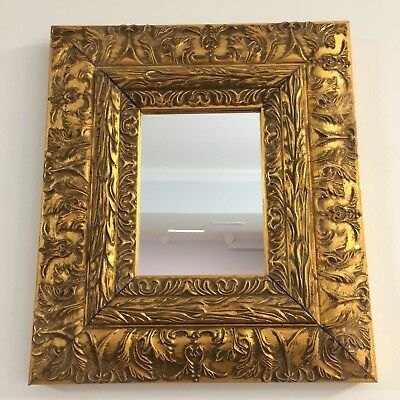 Mirror Ornate Antique Style Vintage Gold Gilt Rococo Baroque 16 x 14 Heavy
