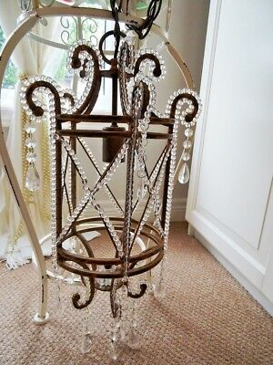 CAGE CHANDELIER FRENCH EMPIRE antique GLASS BEADED CRYSTAL LUSTRES PRISMS vintg