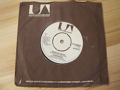 "United Artists Up 35808 7"" 45Rpm '75 Hawkwind ""kings Of Speed"" Ex"