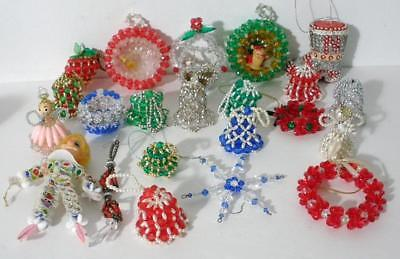 Lot Of 22 Vintage Handmade Beaded Christmas Ornaments Bells Angels And Others