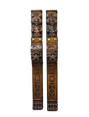 Rare Pair of Carved Lion Figures Trim Posts Pillars Wall Columns
