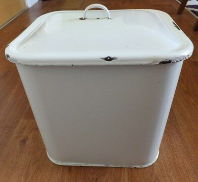 White Enamel Traditional Vintage Metal Storage Bread Bin and Lid Collection only