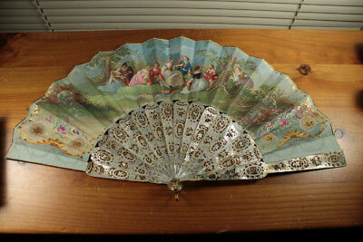 18Th C French  Handpainted Mop Fan With The Box