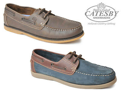 0b495b01b3f MENS CATESBY GENUINE Leather Lace Up Boat Deck Smart Casual Shoes Sizes UK  6-12