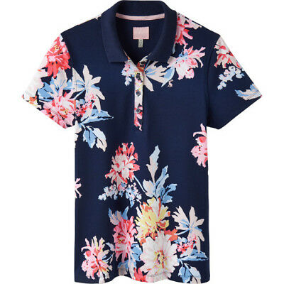 8906e2d7 Joules Pippa Print Womens T-shirt Polo Shirt - Navy Whitstable Floral All  Sizes