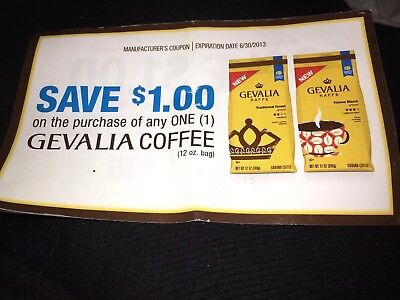 GEVALIA Coffee coupons $1 off 12 ounce bag eight coupons expire 6/30