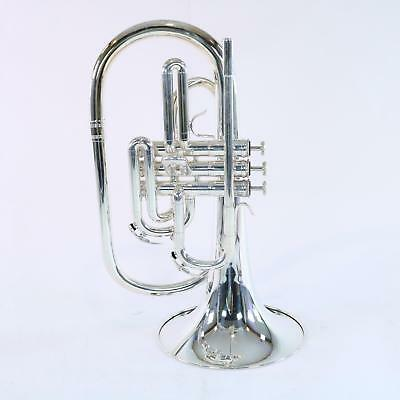 Nirschl E102SP Marching Mellophone SN E000629 SILVER PLATE DISPLAY MODEL