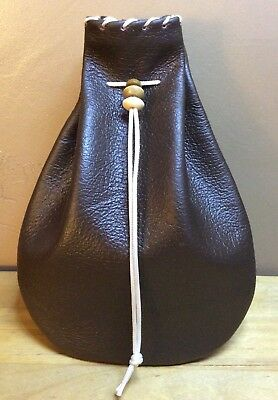 BOGO SALE~ New Handmade Brown Genuine Leather Drawstring, Dice Bag, Coin Pouch