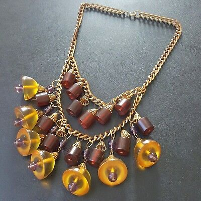 Vintage Antique Art Deco Necklace Amber Tone Acrylic Bead Amethyst Glass WOW K84