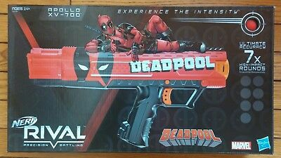 NEW Deadpool Nerf Rival Apollo XV-700 Blaster - 7 Dart balls Marvel Hasbro