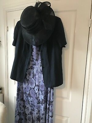 Ladies floral Dress, navy jacket and hat. Size 20