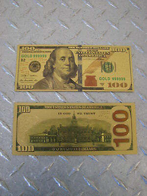 Gold Colorized $100 Dollar Bill Bank Note - Gift Novelty Collectible