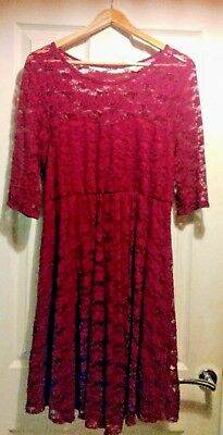 Gorgeous Maternity Dress ASOS Lace Burgundy Sleeves Knee Length Lined Size 12