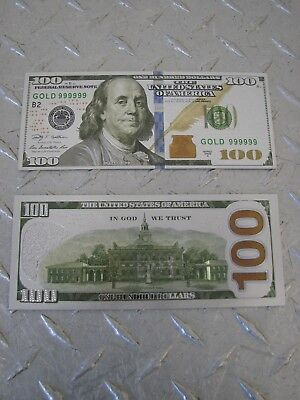 Silver Colorized $100 Dollar Bill Bank Note - Gift Novelty Collectible
