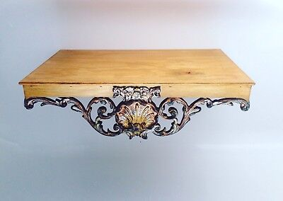 Large 1950s Wooden Rococo Baroque Wall Sconce Shelf