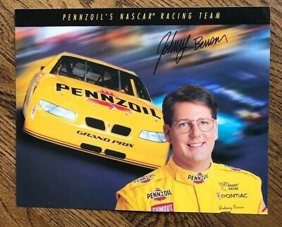 Johnny Benson, Signed 8 x 10 Card, Pennzoil's Nascar 1998 Cup Rookie of the Year