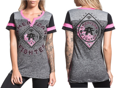 AMERICAN FIGHTER Womens T-Shirt RICHMOND Athletic GREY BLACK NEON Biker UFC $40