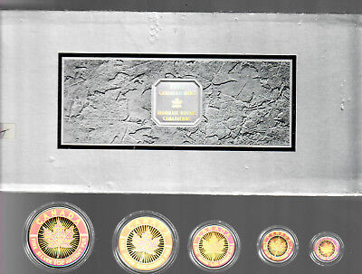 2003 Canadian Mint Silver 9999 Maple Leaf Hologram 5 Coin Set With Box & Coa