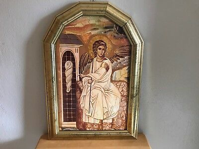 Vintage Antique Beautiful Framed Religious Artwork Angel Picture Foreign Writing