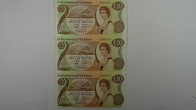 Saint Helena 1986 Twenty Pounds Consecutive Run of Three Banknotes