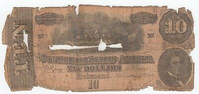 February 11th 1864 $10 RICHMOND Confederate States of America Currency A1495 CSA