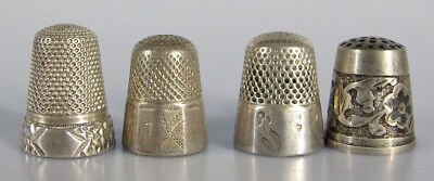 Antique/Vintage Mixed Lot of (4) Sterling Silver Sewing Enameled Thimbles #3 yqz