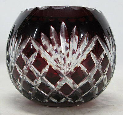 Antique BOHEMIAN Glass RUBY RED Cut to Clear Crystal Rose Bowl Votive Vase  yqz