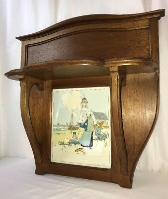 Antique Arts & Crafts Wood Wall Shelf Art Nouveau Deco Cassiers Chromolithograph