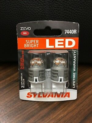 SYLVANIA ZEVO LED SUPER BRIGHT 7440R LED 12v 2.5W BULBS PAIR SET NEW NIB