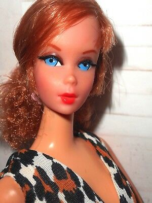 Vintage TITIAN NAPE CURL TALKING BARBIE IN LEISURE LEOPARD #1479 + YELLOW SHOES
