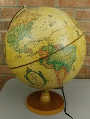 Vintage Illuminated Scan-Globe 1980 A/S Denmark World Discoverer