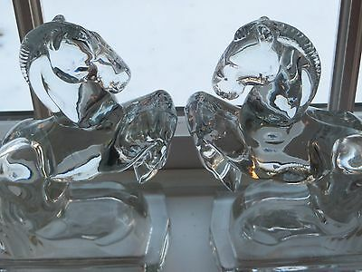 Wonderful Vintage 1940's Pair of Martinsville Rearing Horse Crystal Bookends