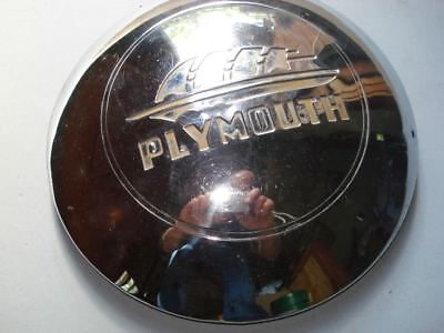 """Vintage 1948 PLYMOUTH 9"""" Hubcap in great shiny chrome driver cond."""