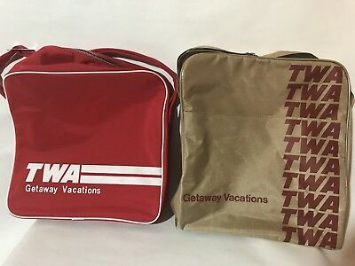 2 TWO TWA V70s-80s Tan Red Canvas Duffle Gym Travel Airline Bags Luggage RARE!