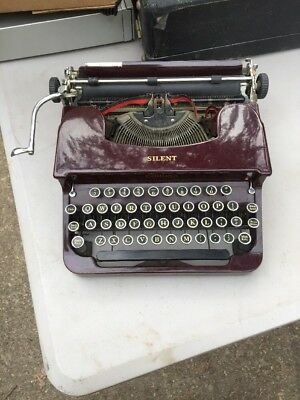Art Deco 1930's Smith Corona Silent Maroon Flat-top Typewriter Antique