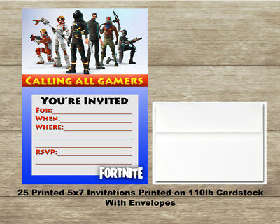 Fortnite - Fill In Birthday Invitations - Quantity of 25 Cards and 25 Envelopes