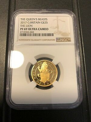 Queen's beast the lion 2017 Great Britain 25 pounds gold proof
