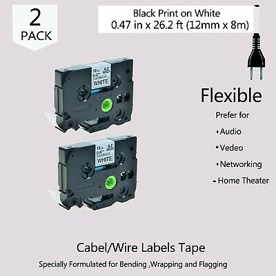 2PK Black on White Label Tape Fit For Brother P-Touch TZe-FX231 12mmx8m US STOCK