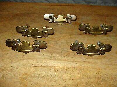 "ANTIQUE/VINTAGE 5 BRASS PULL HANDLE DRAWER / CABINET with screws 1 1/8"" x 3 3/8"""