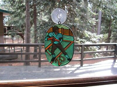 Beautiful Football Player Stained Glass Style Sun Catcher With Suction Cup