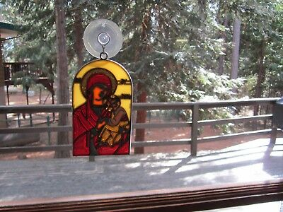 Beautiful Mary With Child Stained Glass Style Sun Catcher With Suction Cup