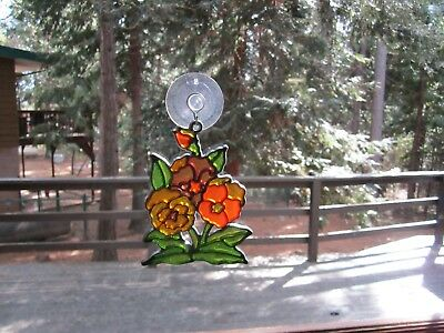 Beautiful Flowers Stained Glass Style Sun Catcher With Suction Cup