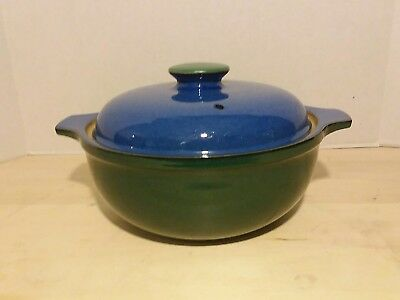 "Denby Metz 1.5 Quart Stoneware Covered Casserole Blue Green 9"" Mint Cond"